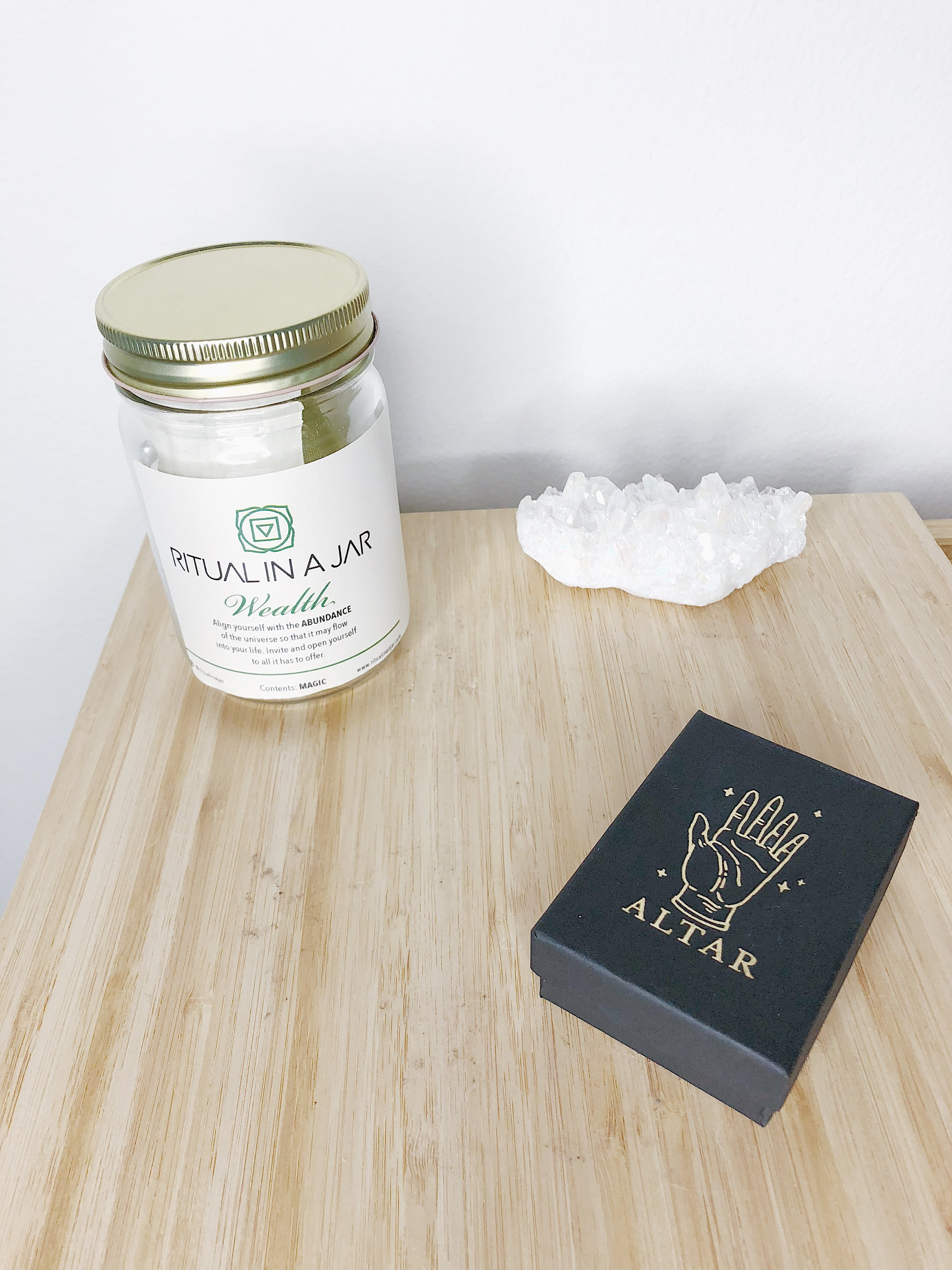 These ritual kits come in several different varieties, handmade in Portland and available online at  Ritual in a Jar .