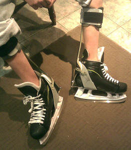 Dom's custom-designed skates by Kintech Orthopaedics