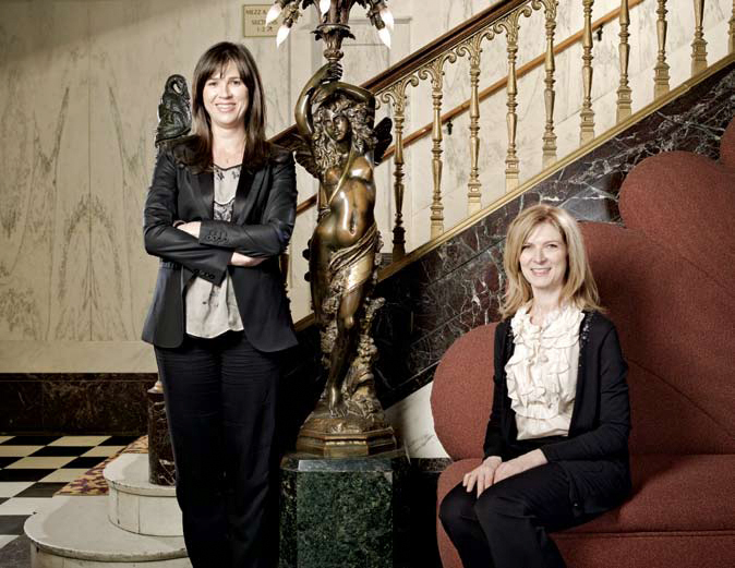 Photo courtesy of Ethan Pines. Team Spirit: Film Independent's Rebecca Yeldham (left) and Dawn Hudson at the Orpheum Theater