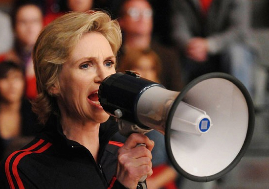 Jane Lynch as bullying cheerleading coach Sue Sylvester in 'Glee' Photo: 20thC.Fox / Everett / Rex Features
