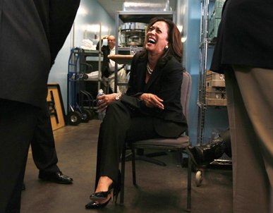 San Francisco district attorney and democratic candidate for California attorney general Kamala Harris laughs as she sits backstage before a get-out-the-vote rally. (Photo courtesy of Justin Sullivan / Getty Images)