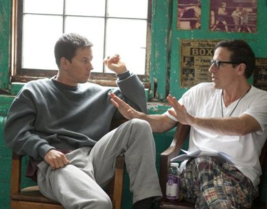 """Mark Wahlberg and David O. Russell on the set of """"The Fighter."""" (Photo courtesy of Jojo Whilden / Paramount Pictures)"""