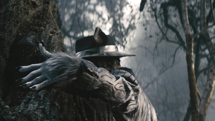 "Johnny Depp's Wolf stalks ""Into the Woods"". (photo credit: Peter Mountain / Disney)"