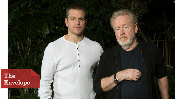 """The Martian"" star Matt Damon and director Ridley Scott worked closely on the film -- especially because Damon was often the only actor in scenes. (Kirk McKoy / Los Angeles Times)"