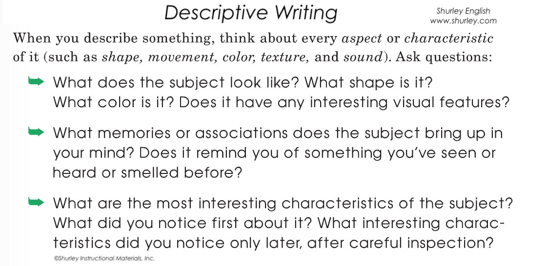 Descriptive Writing with Shurley English Charateristics.png