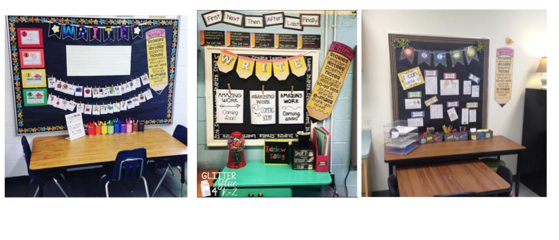 Image Sources:  http://teacherdesigns.blogspot.com/2015/08/kindergarten-writing-center.html?m=1 ,  http://www.glitterandglue4k2.com/2016/08/my-writing-center.html?m=1 , unknown