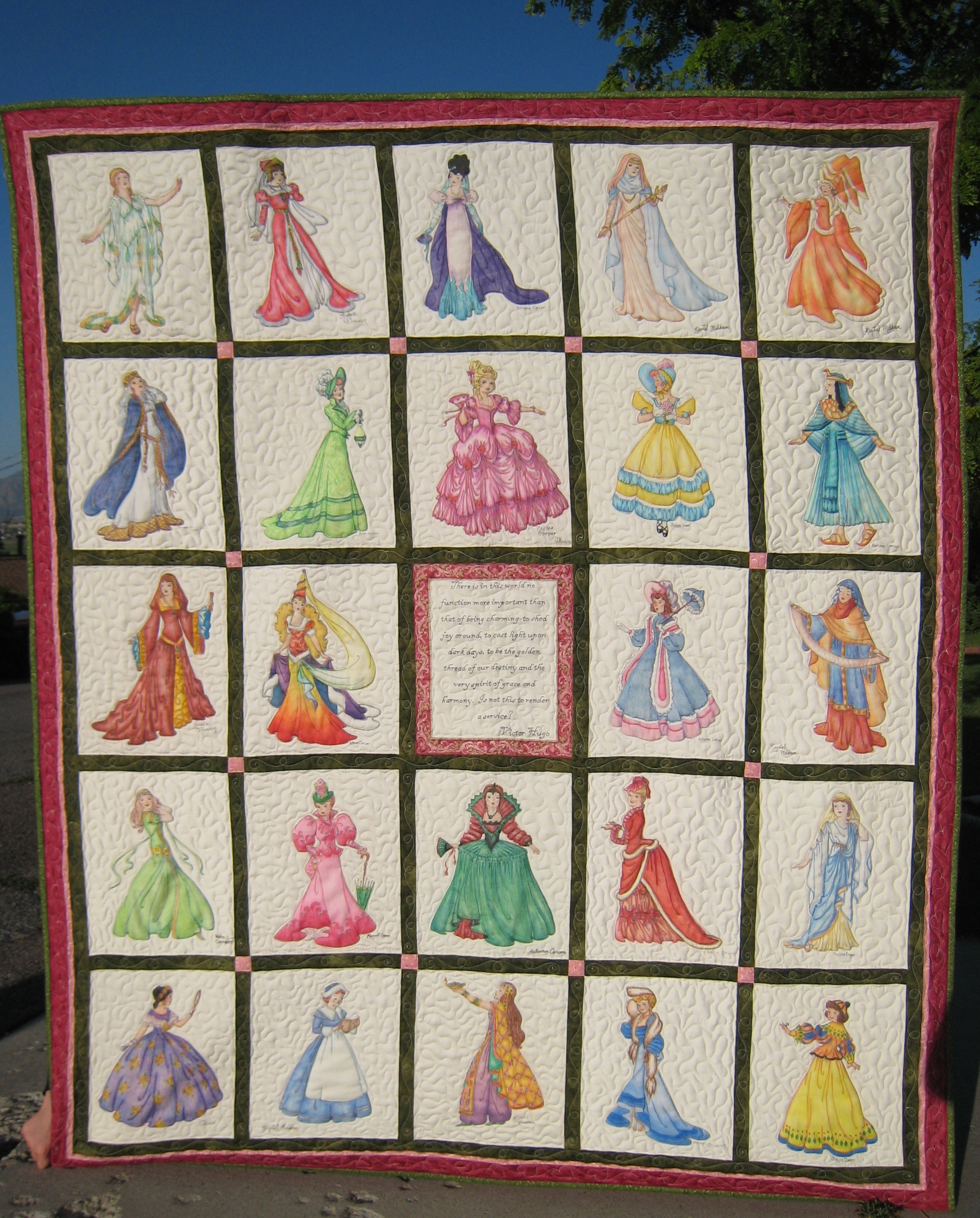 My mom loves to quilt but her 7 daughters only like to color - so we made a crayon quilt! I drew these ladies on fabric with a fabric pen and then we colored this quilt wall hanging with Crayola crayons and ironed it which makes the color permanent. (Use a paper towel for the wax to melt onto the paper towel and leave the color behind.)