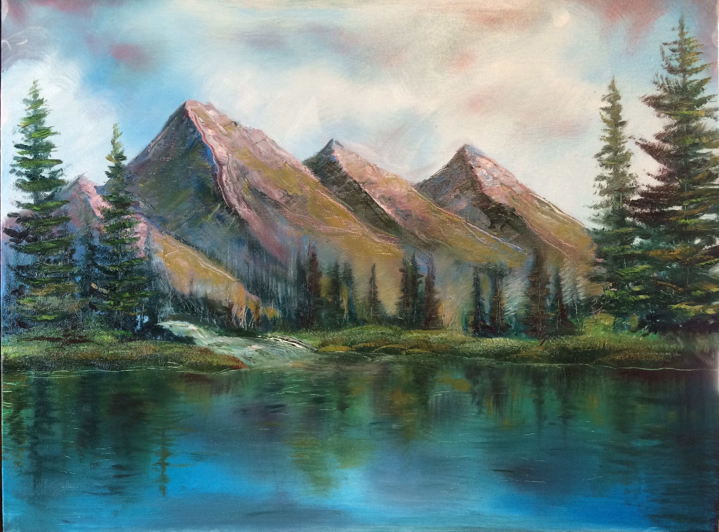 My son Ben and I have painted a painting with Bob Ross from You Tube which was a great learning experience.