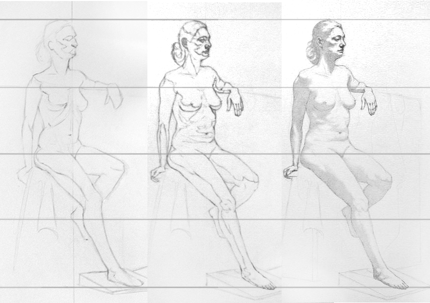comparative drawing process graphite