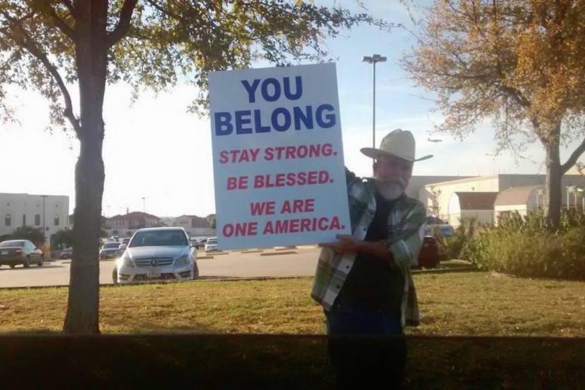 Justin Normand outside a suburban Dallas mosque (  Facebook  )
