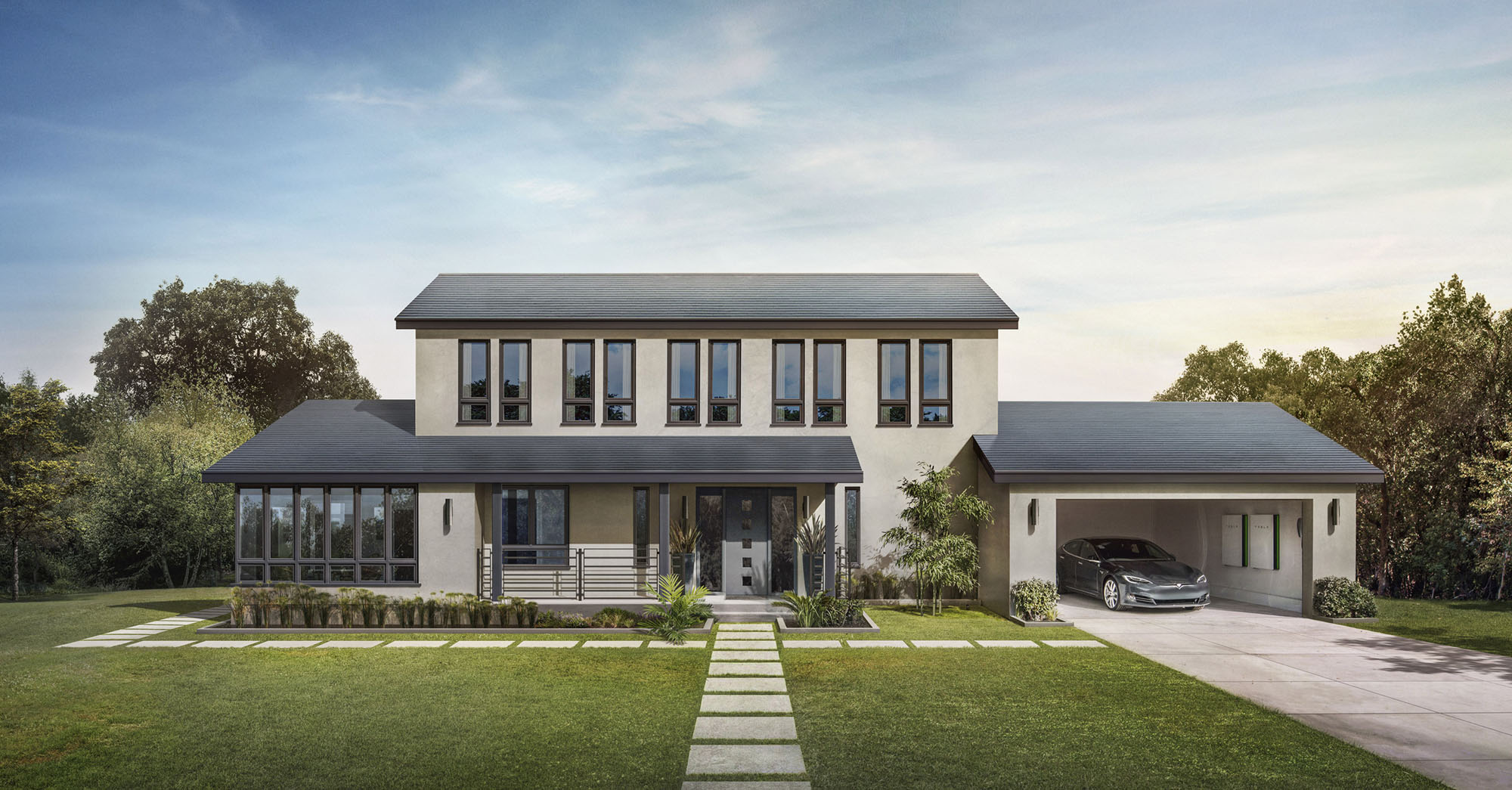 A Tesla Solar Roof. These shingles are embedded with photovoltaic solar cells.  Renderings courtesy of Tesla.