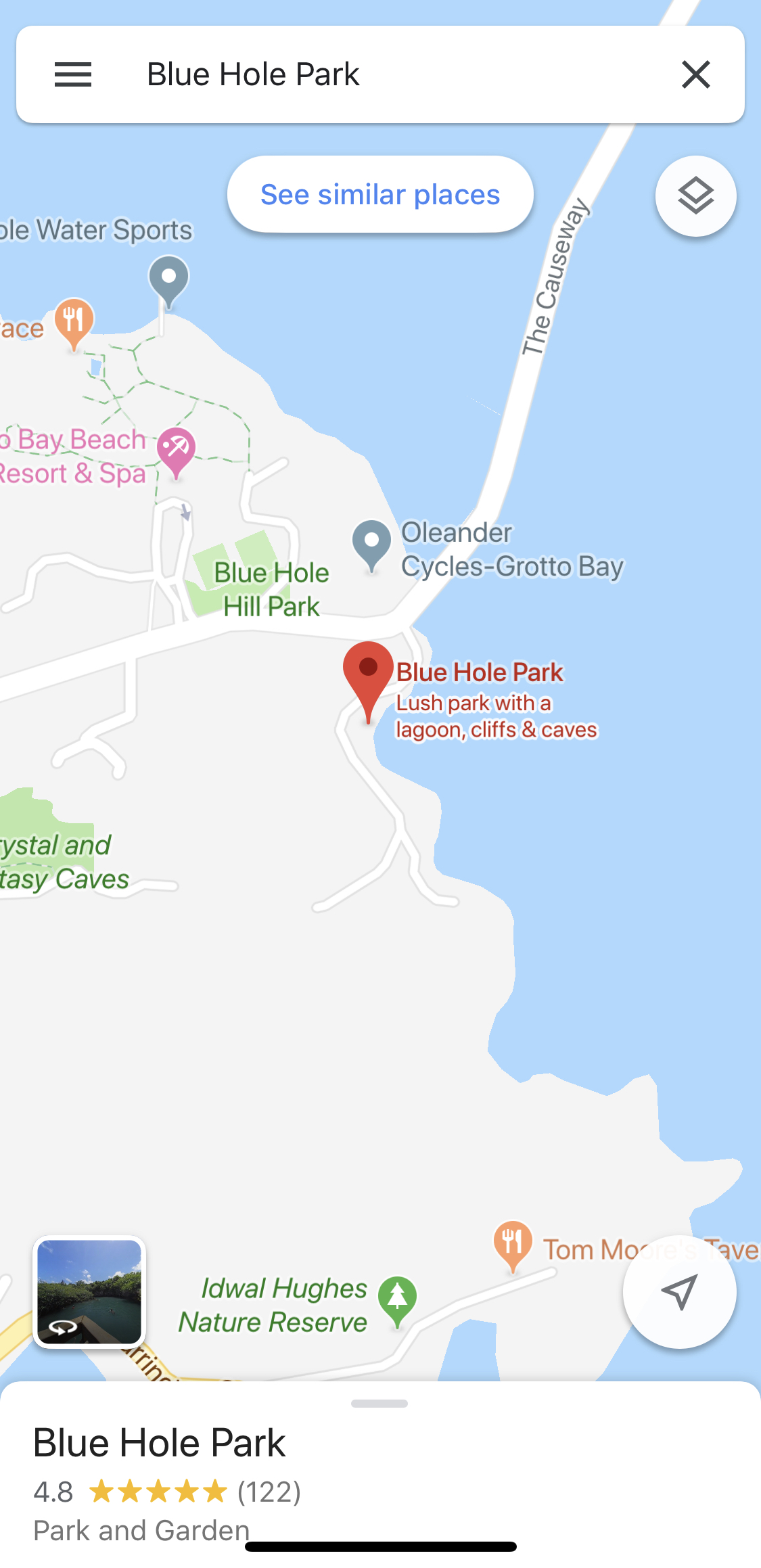 Blue Hole Park - This lagoon is on google maps, however it's not as close to the road as it looks on the map. You need to park by the road and walk through the wooded area, past wonderful mangroves to the blue hole. Basically keep walking until you get there!