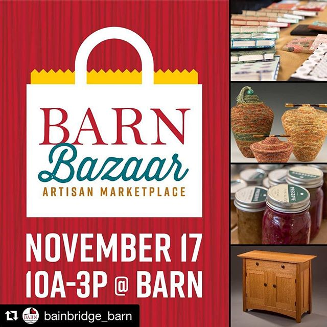 @myfirstbirds will be there selling BRAND NEW DESIGNS! #Repost @bainbridge_barn with @get_repost ・・・ Shop hundreds of items handmade by BARN members at the BARN Bazaar! From Art Books to Woodworking, Glass Art to Weaving. #bainbridgeisland #bainbridgebarn