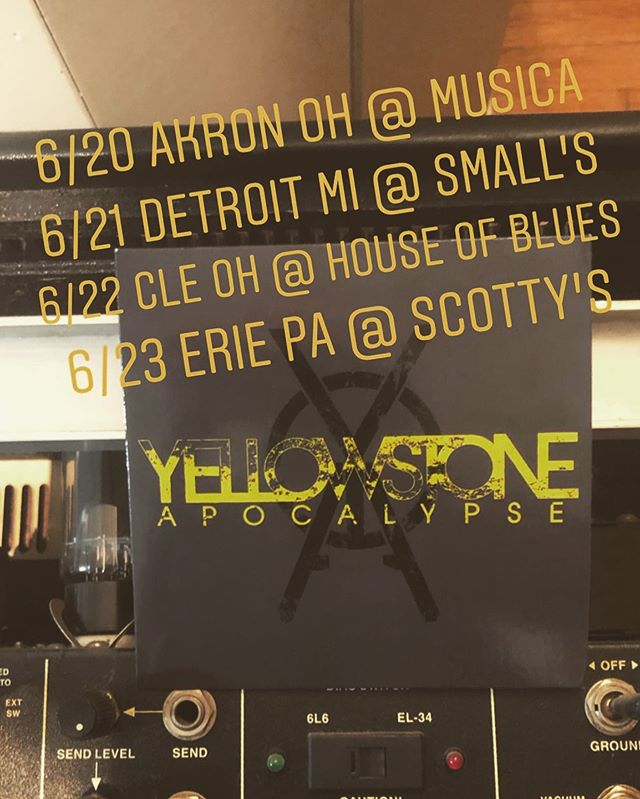 Looking forward to this long weekend with @yellowstoneapocalypse  Tonight 6/20 Akron OH @musicaakron  Fri 6/21 Detroit MI @smallsbar  Sat 6/22 Cle OH @hobcleveland (Mike Sopko & Joe Tomino, NOT Yellowstone Apocalypse)  Sun 6/23 Erie Pa @ Scotty's  #yellowstoneapocalypse #wearethechampions