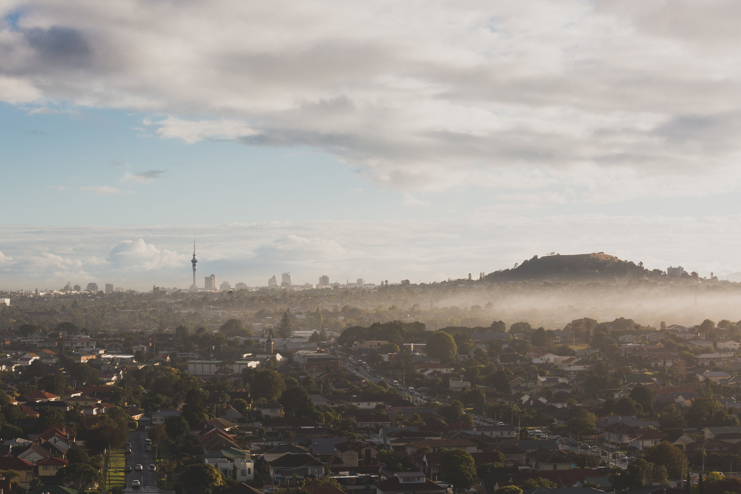 Rolling fog over Auckland
