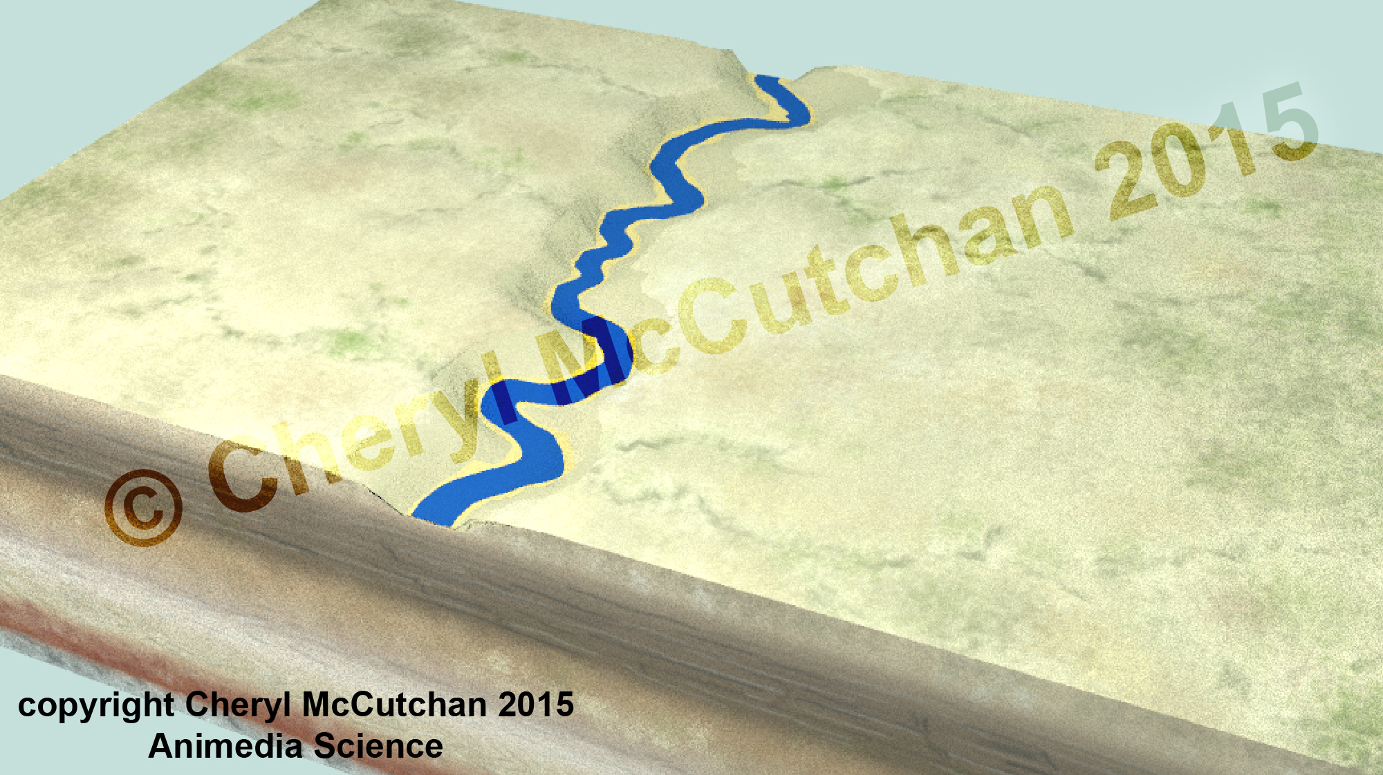 Geology block with stream