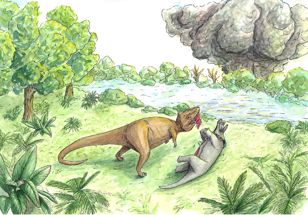 A simple watercolor illustration tells the story of the beginning of the end of the Cretaceous period when the Chicxulub asteroid hit the Yucatan Peninsula about 65 million years ago.