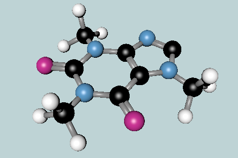 Caffeine molecule. Made in Blender, an open source 3D modeling and animation app.