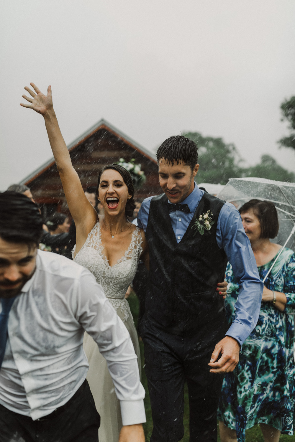 Mother nature decides to pour on your wedding day, and you get soaked while walking down the aisle? I'll be right there cheering you on, just as soaked as you because dry wedding attire is overrated. -