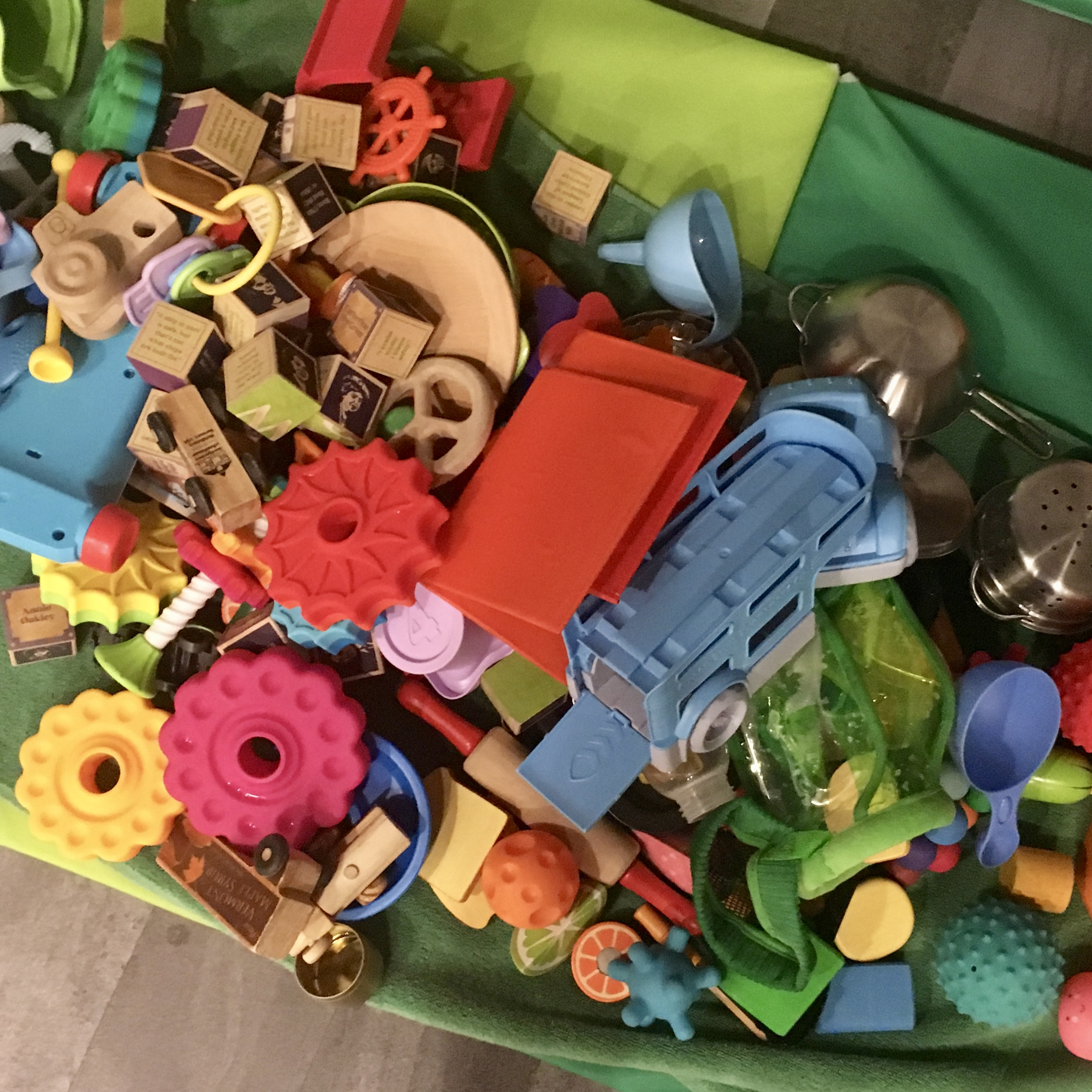 Image: A large pile of toddler toys