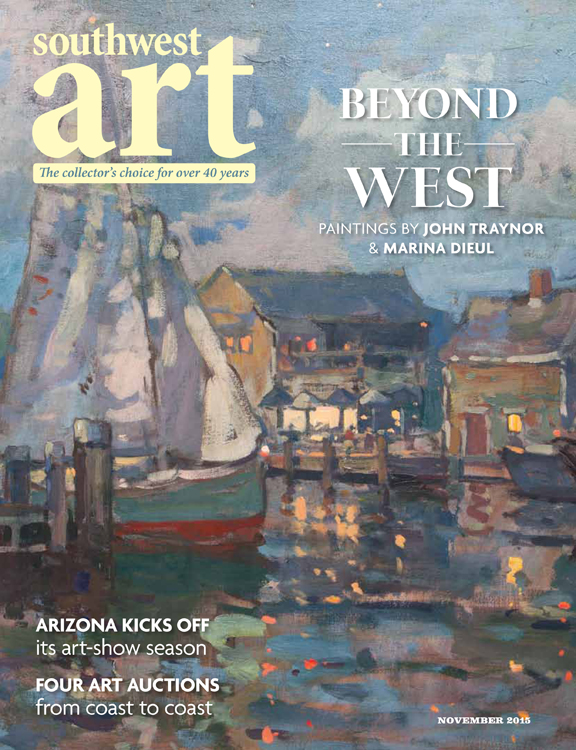 """Photo of John Traynor's painting, """"Leaving Port"""" featured on the cover of Southwest Art Magazine's November 2015 Issue."""