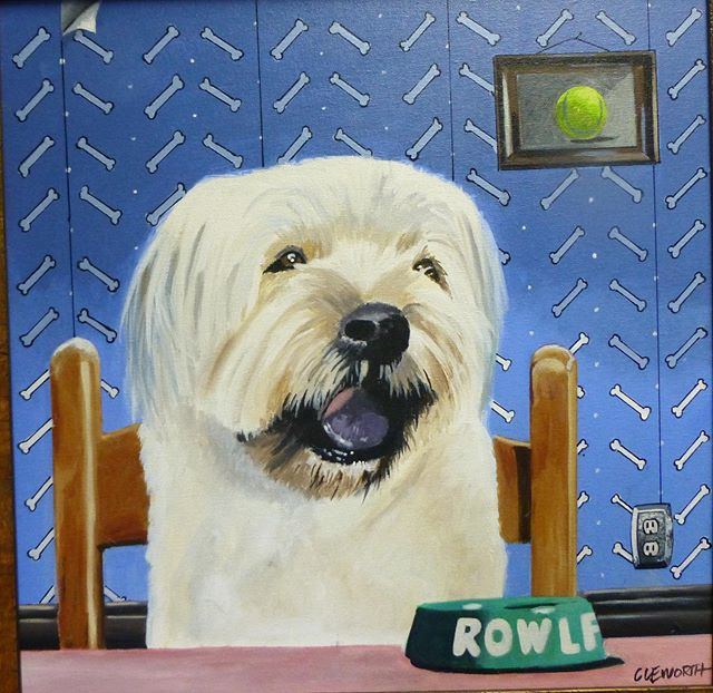 Everyone meet Rowlf another doggie painting I did years background inspired by Wallace and Gromit. What u guys think?  #cleworthfineart #cleworthart #dogsofinstagram #dogpainting #painting #artforsale #printsforsale #art #artoftheday #tbt