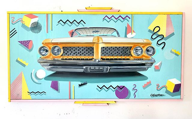 """Creamsicle"" My latest acrylic on canvas painting was inspired by the Memphis style popular in the 80's.  Saw this custom car recently during a visit @theadmorg and it inspired the look. Original and prints available for sale DM for more info or visit my website for more work. Let me know what you think in the comments.  #cleworthart #cleworthfineart #80s #memphisstyle #acryliconcanvaspainting #artforsale #artofinstagram #savebythebell #pontiac #customcar #vintage"