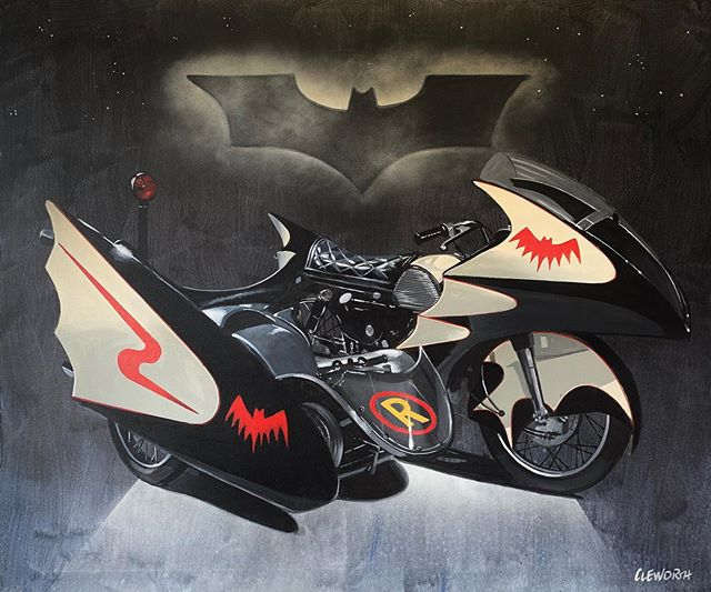 """Kapow""💥 New painting of the Batcycle from the 60s @batman show. Saw this at the @petersenmuseum and had to do a painting of it. Whatcha guys think? Original and prints available for sale DM for more info.  #cleworthfineart #cleworthfineart"