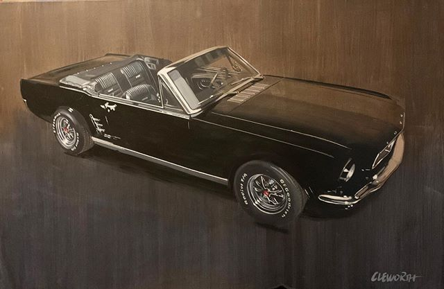 """Mustang"" Brand new commissioned painting of this classic Ford Mustang.  Prints available for sale Dm for more info or check out cleworthfineart.com for other works.  #cleworthfineart"