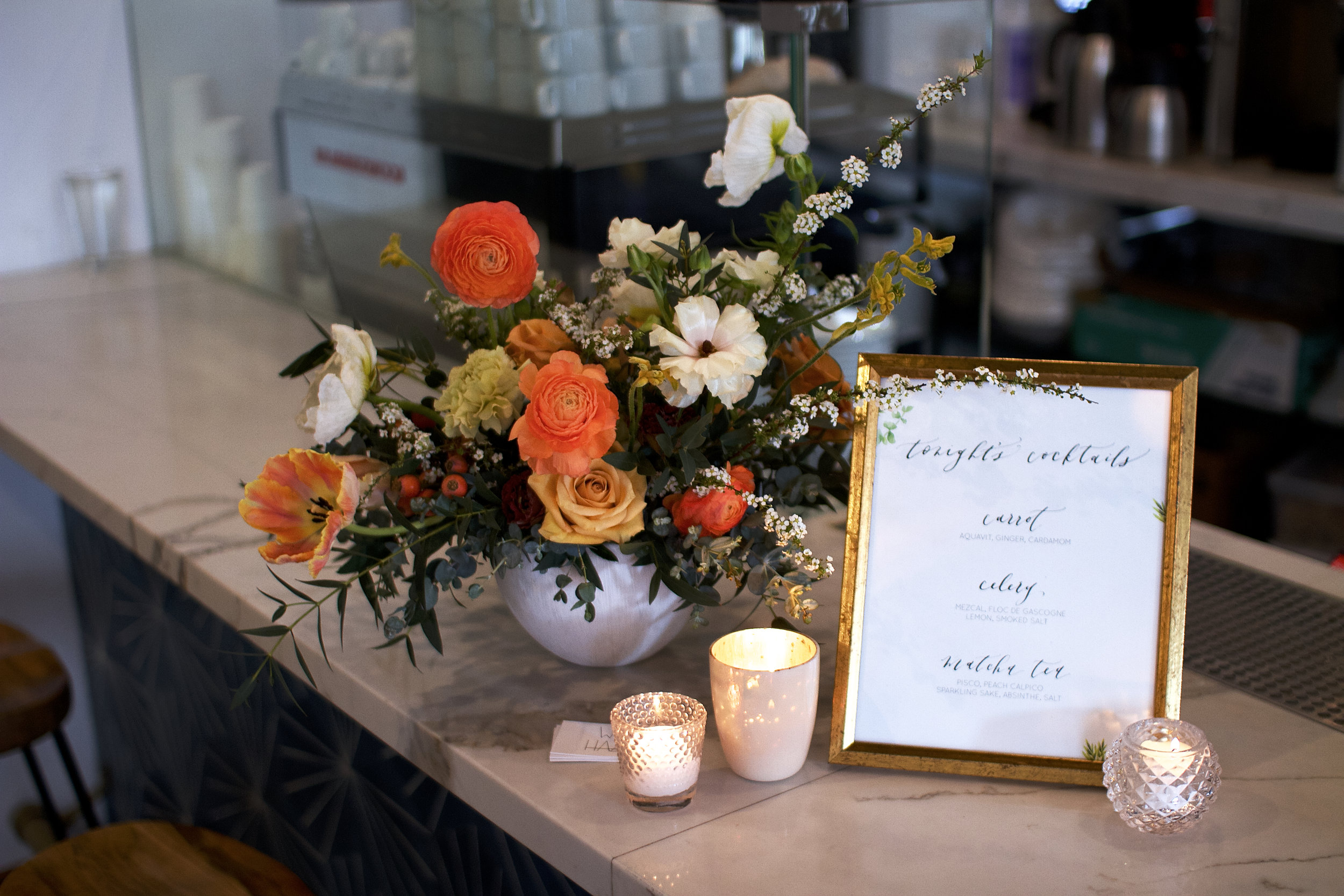 flowers and menu