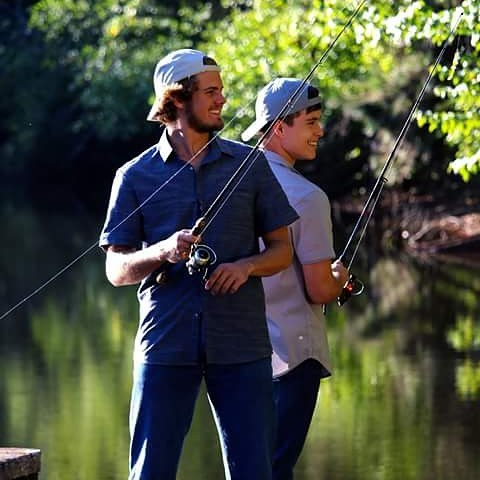 Scene from the motion picture Full Count best friends (Milton) John Paul Kakos & (Chad) Triston Dye talk about baseball, life and having each others back. #fullcount #fullcountmovie #faithbase #faith #friendship #bff #fishing #baseball #baseballislife #smalltown #bigdreams #behindthescenes #movie #motionpicture #reeloneentertainment #buckheadfilmgroup #setlife #lifeisgood #happy #buddies