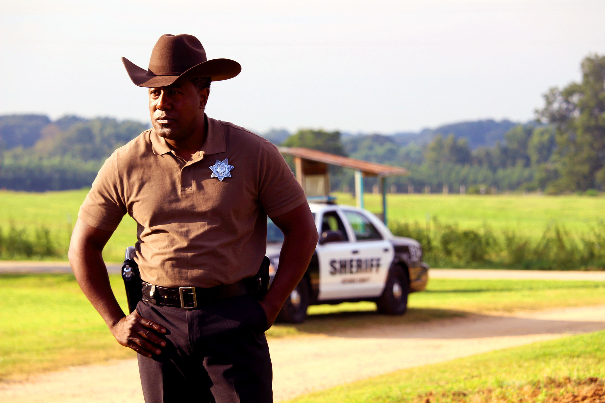 Brilliant actor E. Roger Mitchell - American Made - The Quad superbly plays the experienced Sheriff Darden in this years most influential film Full Count