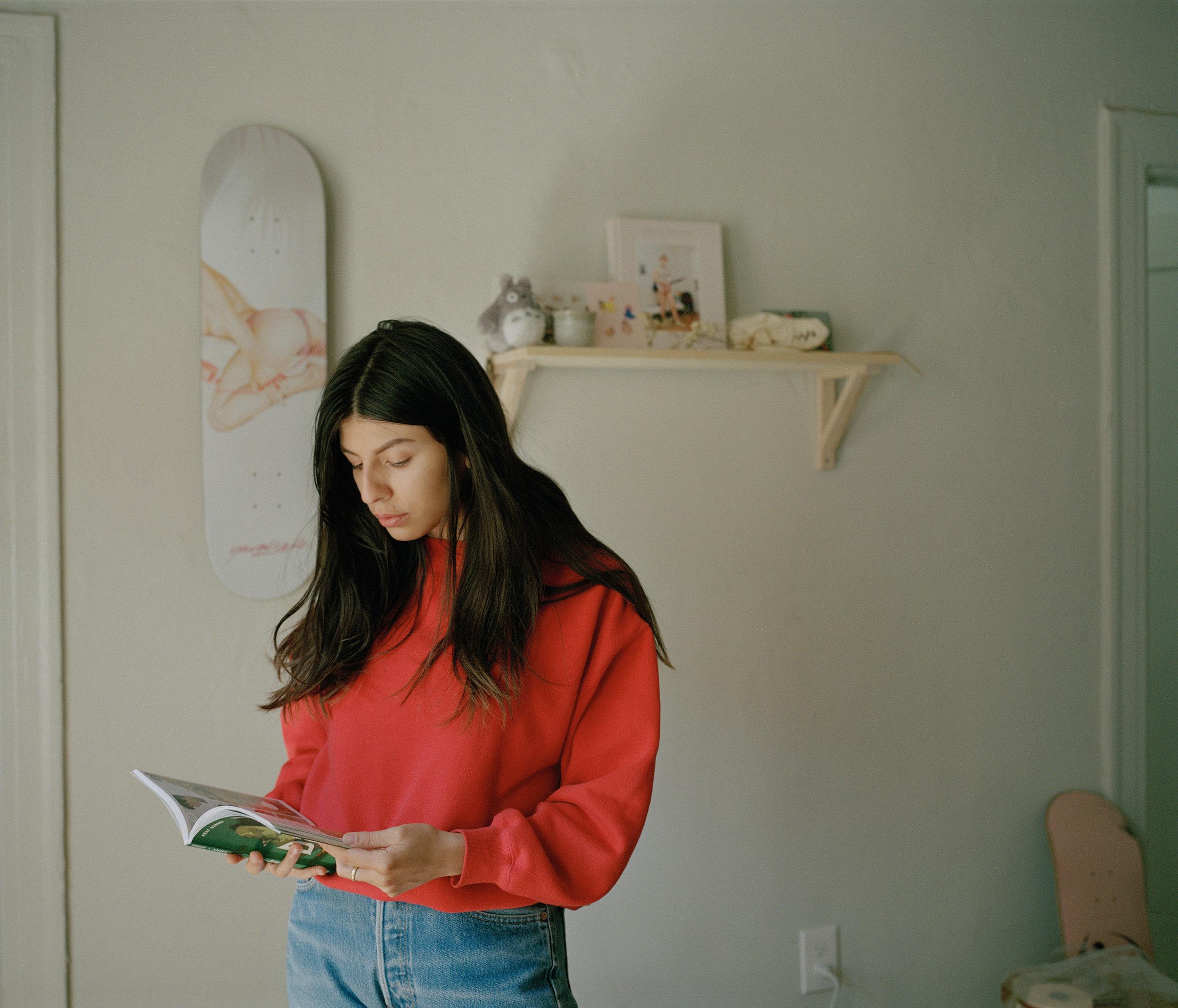 Alix Gutierrez - los angeles illustrator in her home studio