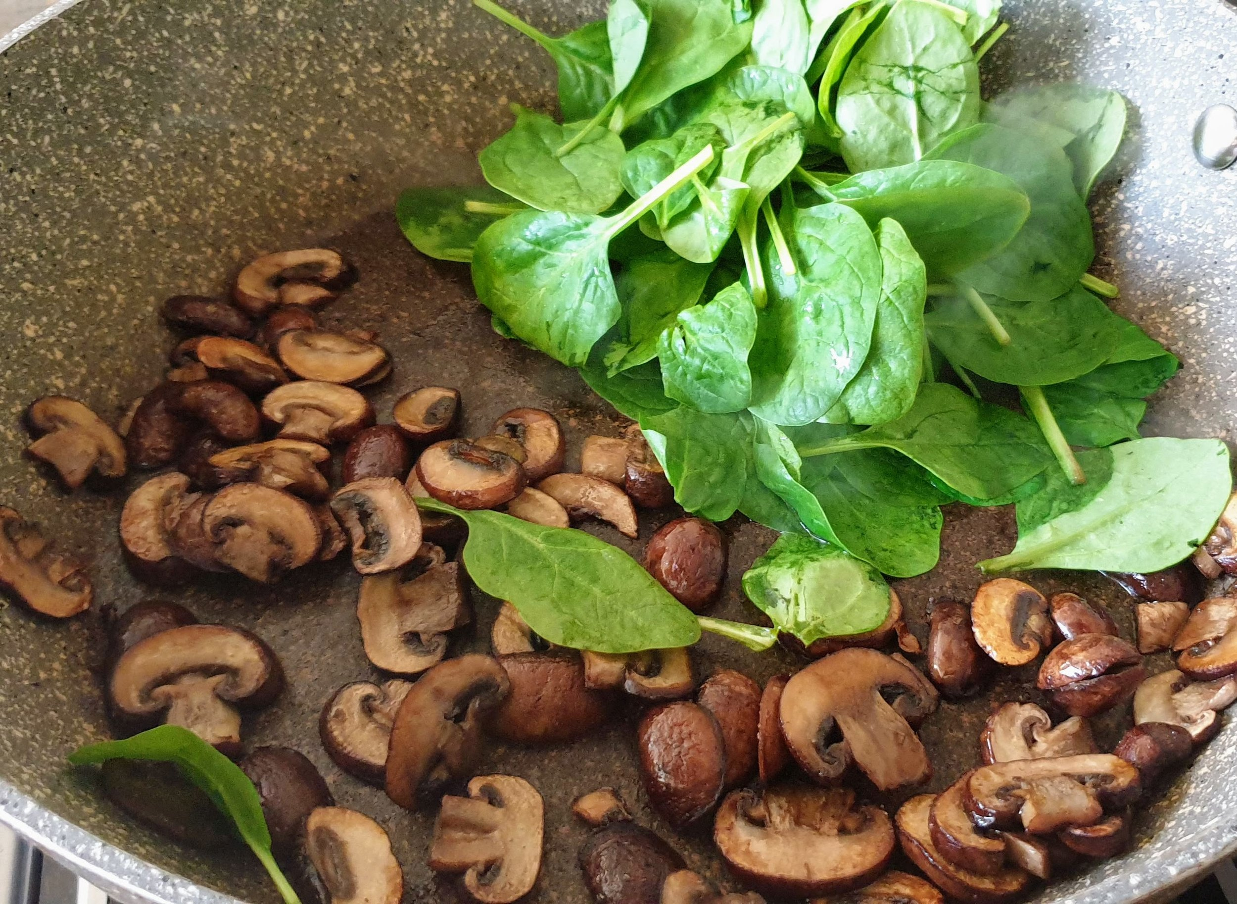 Saute mushroom till brown then add spinach.jpg
