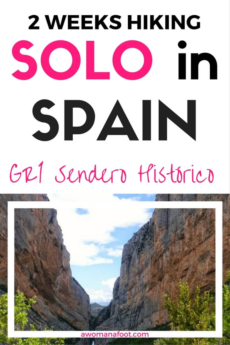 2 weeks female and solo along Spain's GR1 trail Sendero Histórico. awomanafoot.com