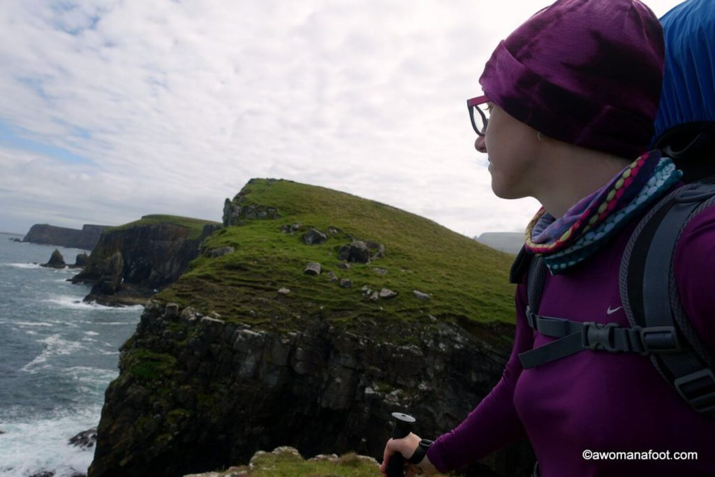 Rubha Hunish - the most northerly tip of the Isle of Skye, Scotland. Stunning views and a challenging trail along cliffs. Highly recommended for all adventurous types! |Hiking solo in Scotland | Female solo hiker | The best in Scotland | #hiking #Skye #Scotland #SkyeTrail #solo #Highlands #UK #GreatBritain #Backpacking #EuropeanTrails awomanafoot.com