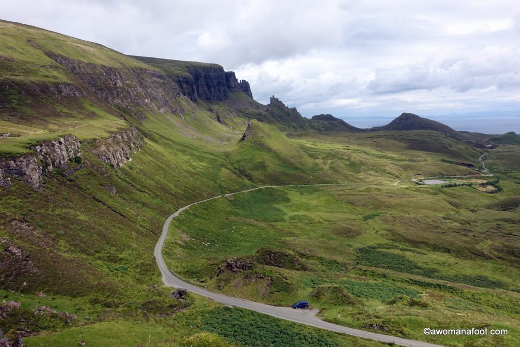Hiking the Isle of Skye's Trotternish Ridge - not for the faint of heart! awomanafoot.com Fantastic and challanging two-day hike on the Skye Trail. #hiking #Skye #Scotland #SkyeTrail #solo #femalehikers #Highlands | Hiking in Scotland | Women hiking solo on Skye | Female solo hikers | #Trotternish |