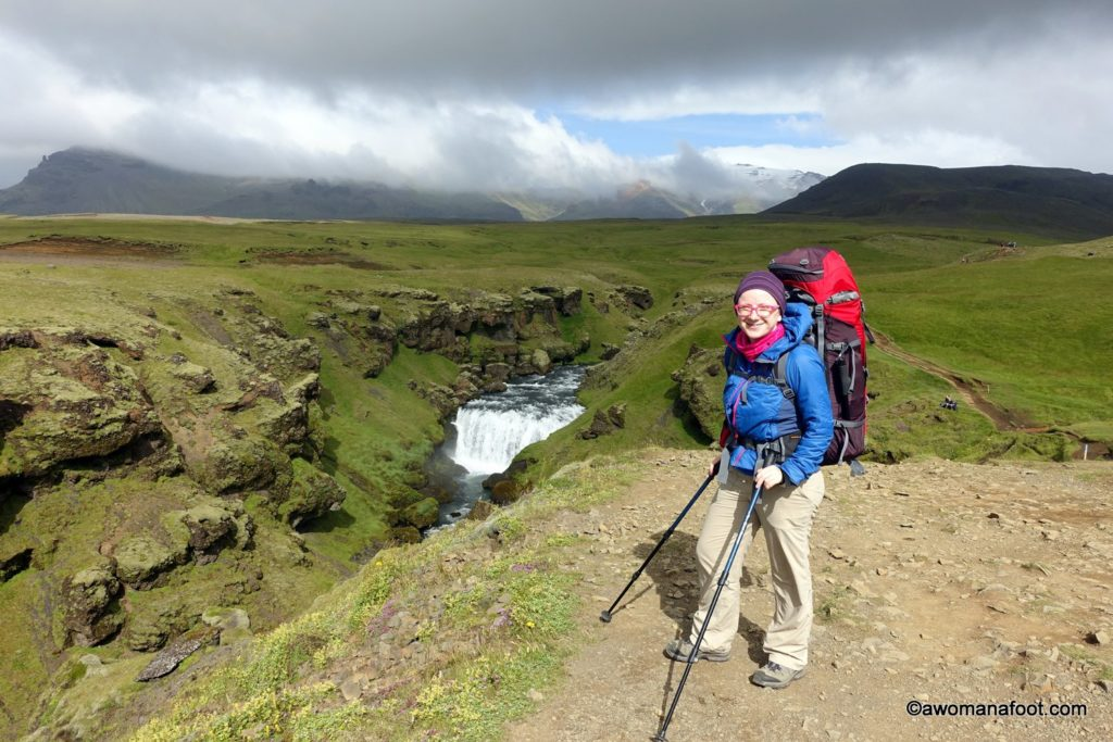 The Fimmvörðuháls trail in southern Iceland is a challenging and stunningly beautiful hiking path leading through the Land of Fire and Ice. Learn all you need to know about hiking it solo @ Awomanafoot.com | Hiking trails in Europe | #Hiking in Iceland | How to hike #Fimmvörðuháls | Active and adventure travel | What to do in Iceland | #Skogar | #Thorsmork | #Iceland Travel | #Solo travel | #Fimmvorthuhals