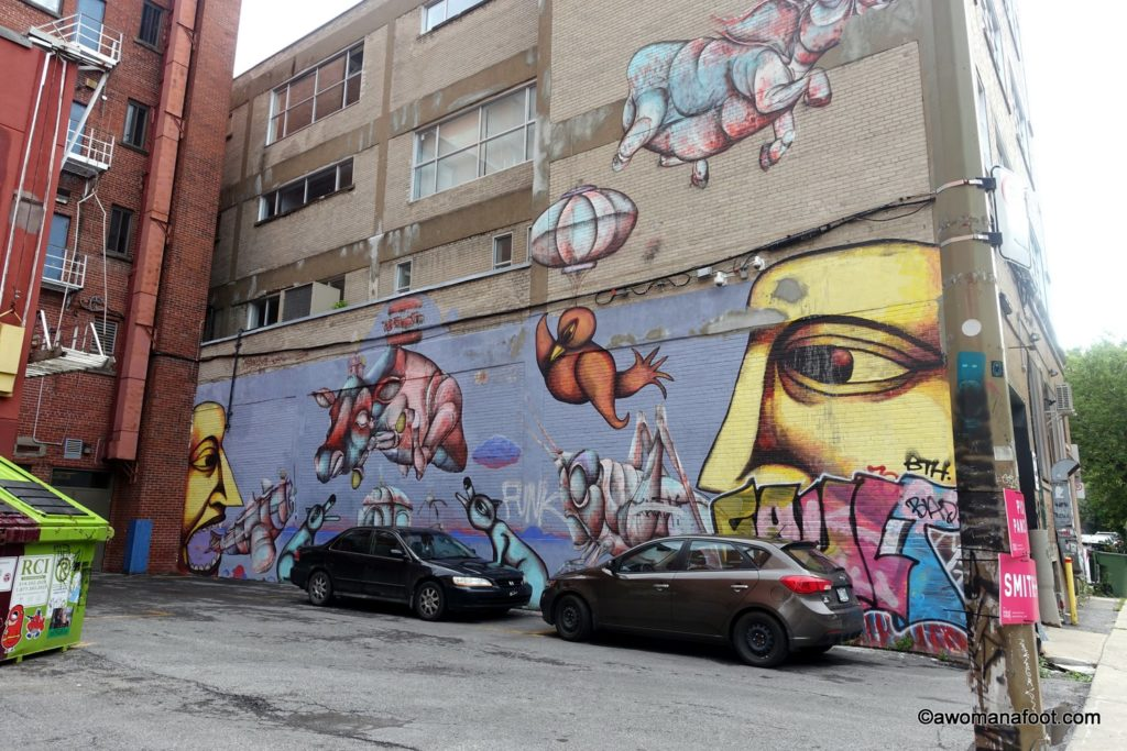 Wander through the streets of Montreal and be awed by the fantastic street art. | Urban art | Murals | Quebec | Canada | Cultural Travel | awomanafoot.com