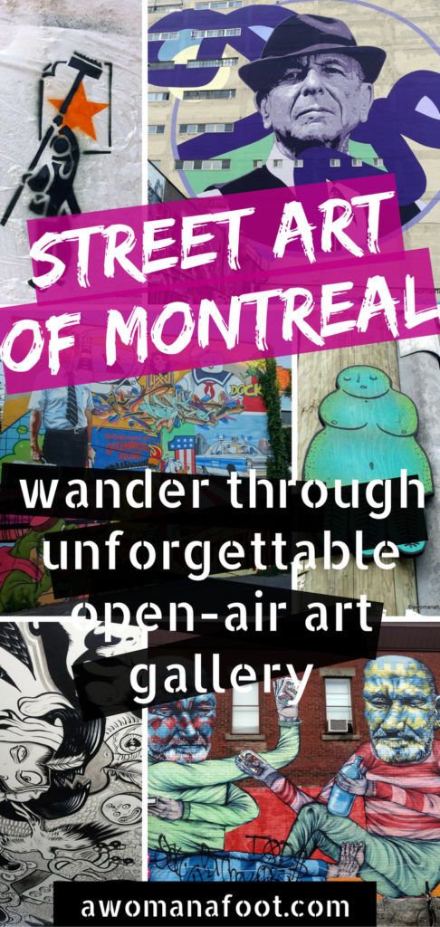 Montreal Street Art: Wander through the streets of Montreal and be awed by the fantastic street art. | Urban art | Murals | Quebec | Canada | Cultural Travel | awomanafoot.com