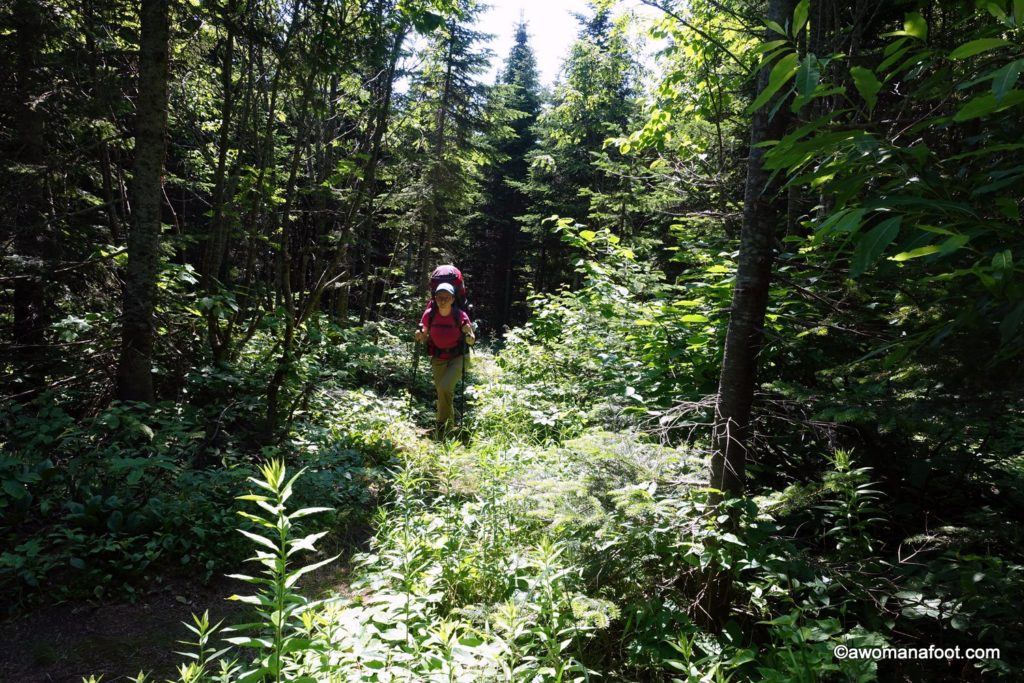 A fabulous trail for women hiking solo: Le Sentier des Caps in Quebec, Canada. Beautiful forests, challenging paths, and stunning views to St.Lawrence River! #hiking | #camping | #solo | #Quebec | #Canada | #trekking | #backpacking | #femalehikers | awomanafoot.com