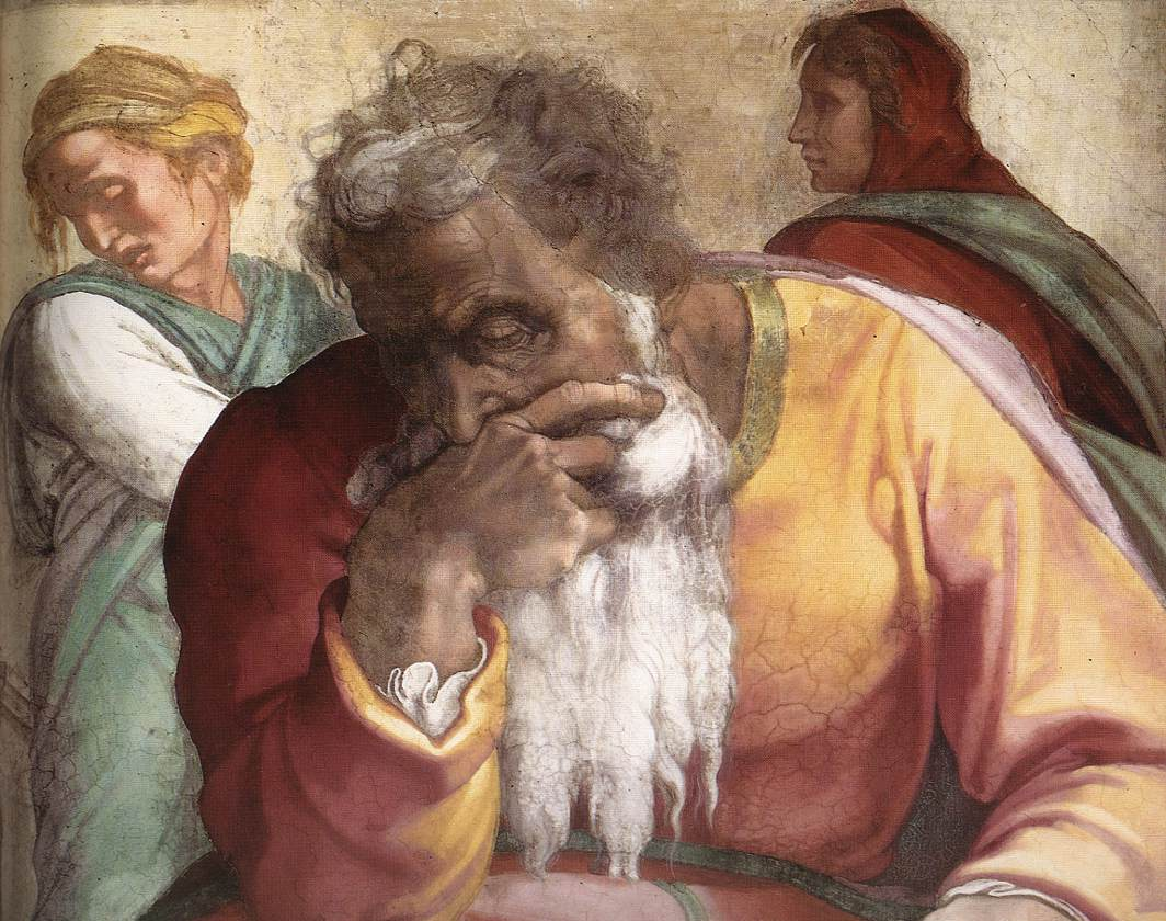 Pure perfection: One of my favorite prophets, Jeremiah by Michelangelo. Via  wiki commons