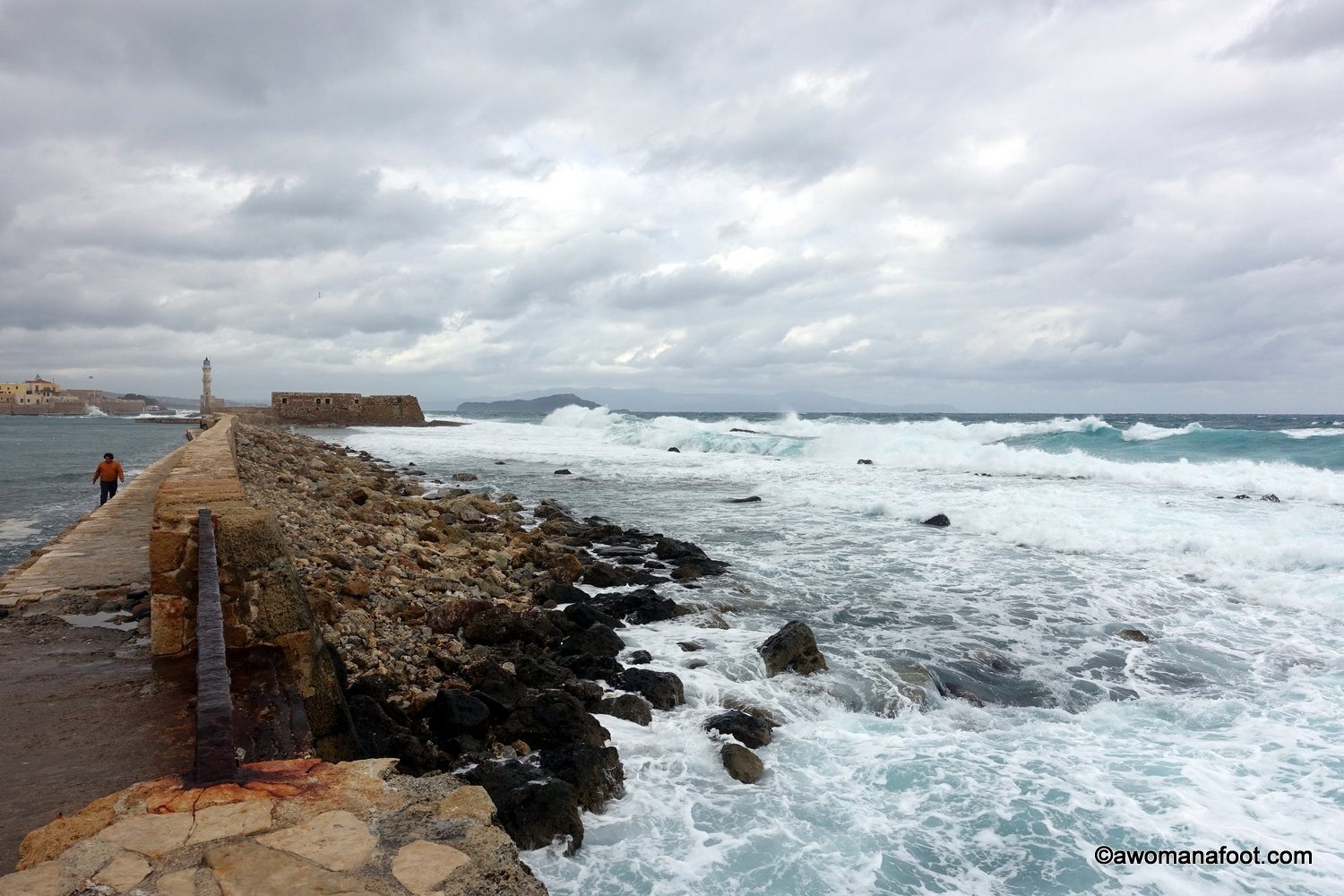 Chania stormy sea greece crete winter