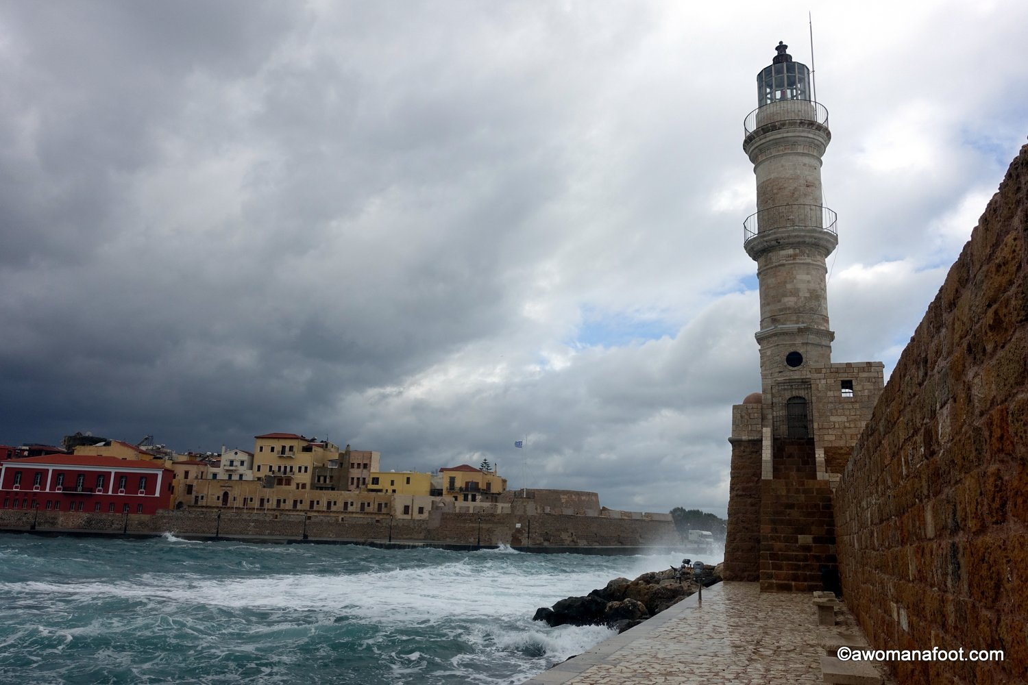 Chania storm winter port Greece Crete lighthouse