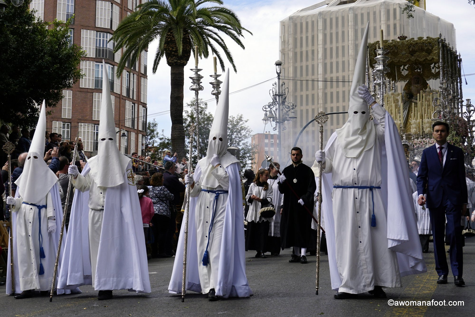 Easter is the perfect time to visit Spain - experience the uniquely Spanish traditions during the Semana Santa - Holy Week preceding the Catholic holiday of Easter. Awomanafoot.com | #Spain | #SemanaSanta | #Malaga | #Easter | #CultureTravel | #EuropeanTravel | What to do in Spain | Best time to go to Spain | Easter Celebrations | Easter in Malaga | Malaga travel | Holiday Traditions | Catholic Traditions | #CityGuide | #TravelDestinations