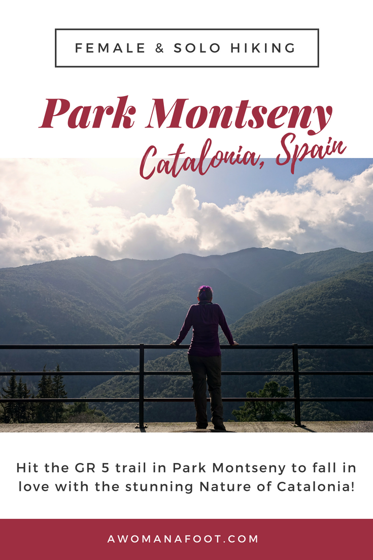 Fall in love with Catalonia! Go hiking in Park Montseny, a true natural gem just outside of Barcelona - read more @Awomanafoot.com! Best hiking destinations in Europe | Hiking trails in Spain | #GR5 | Long-distance hiking trails in Europe | What to do in Catalonia | Hiking near Barcelona | #hiking #Catalonia #Spain #solo #Barcelona | women hiking solo | trails for solo hikers | Women hiking solo |