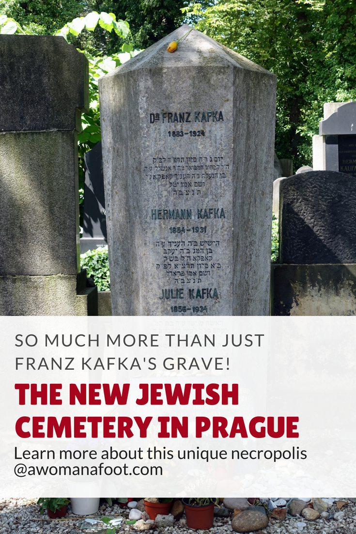 The New Jewish Cemetery in Prague - a beauty beyond Franz Kafka's grave. Learn more why it is worth your visit at awomanafoot.com | #Prague | #Cemetery | #Judaism | #JewishHistory | #ArtHistory | #EasternEurope | #Kafka | #LiteratureTravel | What to see in Prague | Prague off the beaten path | Travel for book lovers | Cultural Travel | Where is Franz Kafka's grave? | Cultural Travel | East European Travel |