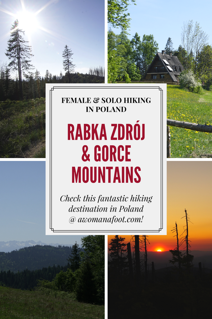 Charming little spa town and fantastic hiking destination! Click to read about Rabka Zdrój and Gorce Mountains, and start planning your vacation! @AWOMANAFOOT.COM | Travel in Poland | Hiking destinations and trails | Europe off the beaten track | Female and solo hiking | #hiking #solo #Poland #destination #trail #EuropeanTravel #backpacking #EasternEurope