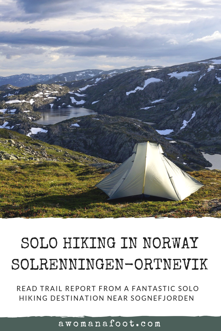 Norway has it all: mountains, fjords, lakes, snow, rocks, and views to blow your mind! Check the last installment of this fantastic hiking trip in the Norwegian mountains: from Solrenningen to Ortnevik by the famous Sognefjorden - @Awomanafoot.com. | Hiking trails in Norway | female solo hiking | Wild Camping in Scandinavia | Hiking destination in Europe | Female Solo hiker | #hiking #Norway #Scandinavia #trail #solotravel #solohiking #femalehiker #fjord #mountains #Sognefjorden