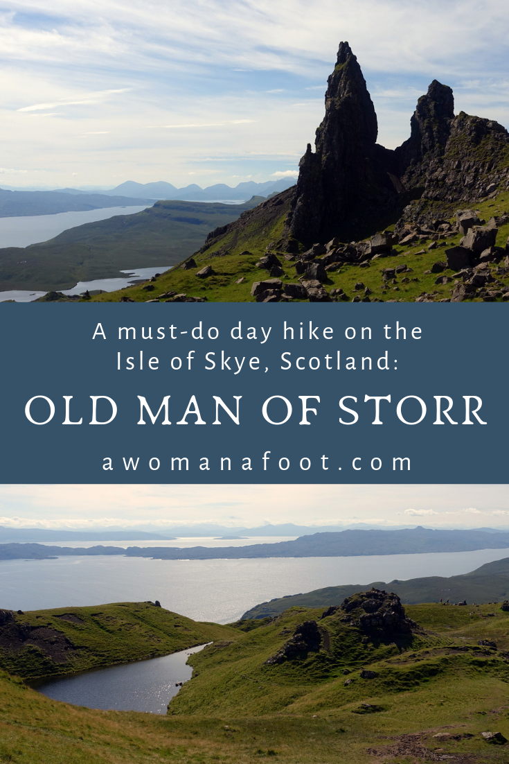 The Old Man of Storr is the most iconic place on the Isle of Skye. Read this article to learn how to hike it for magnificent views and unforgivable adventure! awomanafoot.com | Hiking trails in Scotland | What to do on the Isle of Skye | Best activities in Scotland | Scottish travel | Best travel destinations in Europe | #Skye #Storr #Scotland #Hiking #Solo #HikingTrail #FemaleHiker #Travel #Europe #ActiveTravel